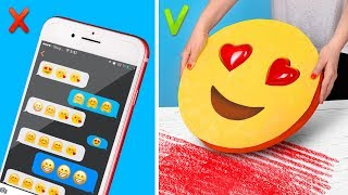 9 DIY Giant vs Miniature Emoji School Supplies
