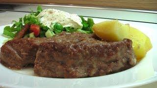 Говядина тушеная с луком и картофелем видео рецепт. Книга о вкусной и здоровой пище