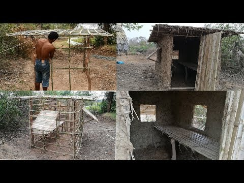Primitive Daily life: Build primitive mud house (using bamboo and mud)- Full Video