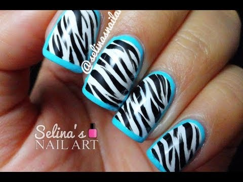 Zebra Print Blue Border Nail Art Tutorial Youtube