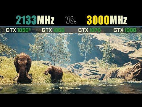 RAM Speed Comparison GTX 1050 Ti, 1060, 1070, 1080 (Far Cry Primal)