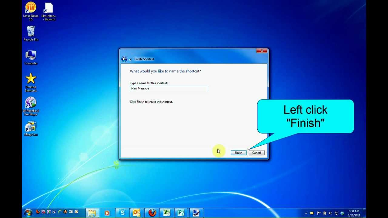 How to Create a Shortcut for a new e-mail Message in Windows 7 - by Turner  Time Management