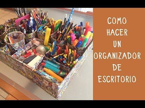 Organizador de escritorio hazlo tu mismo con materiales - Como hacer una mesa escritorio ...