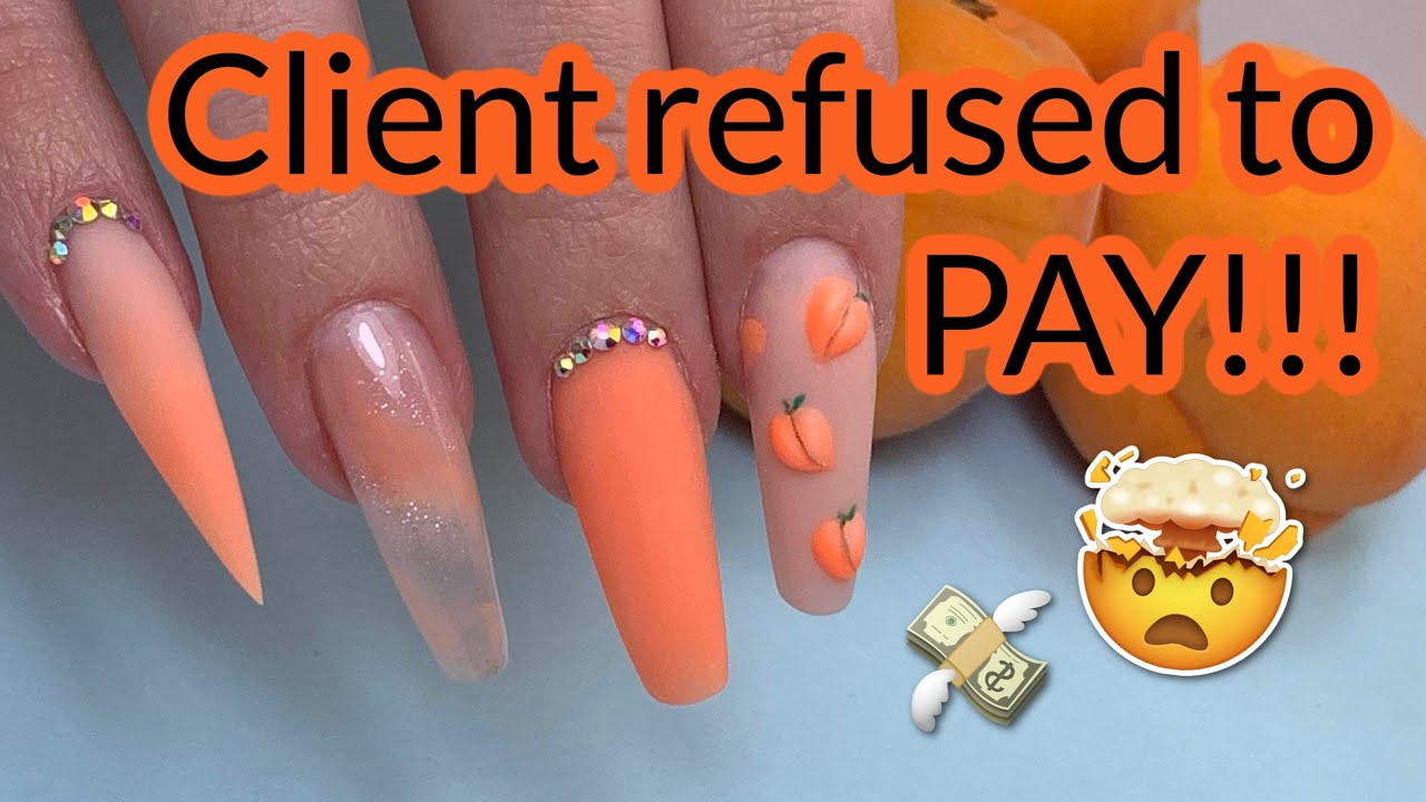 Story Time: Client Refused to Pay! + Peaches Acrylic Coffin Nails