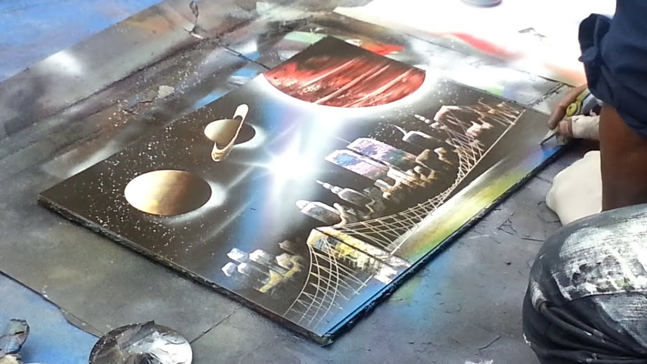 spray paint art new york planets made by street. Black Bedroom Furniture Sets. Home Design Ideas