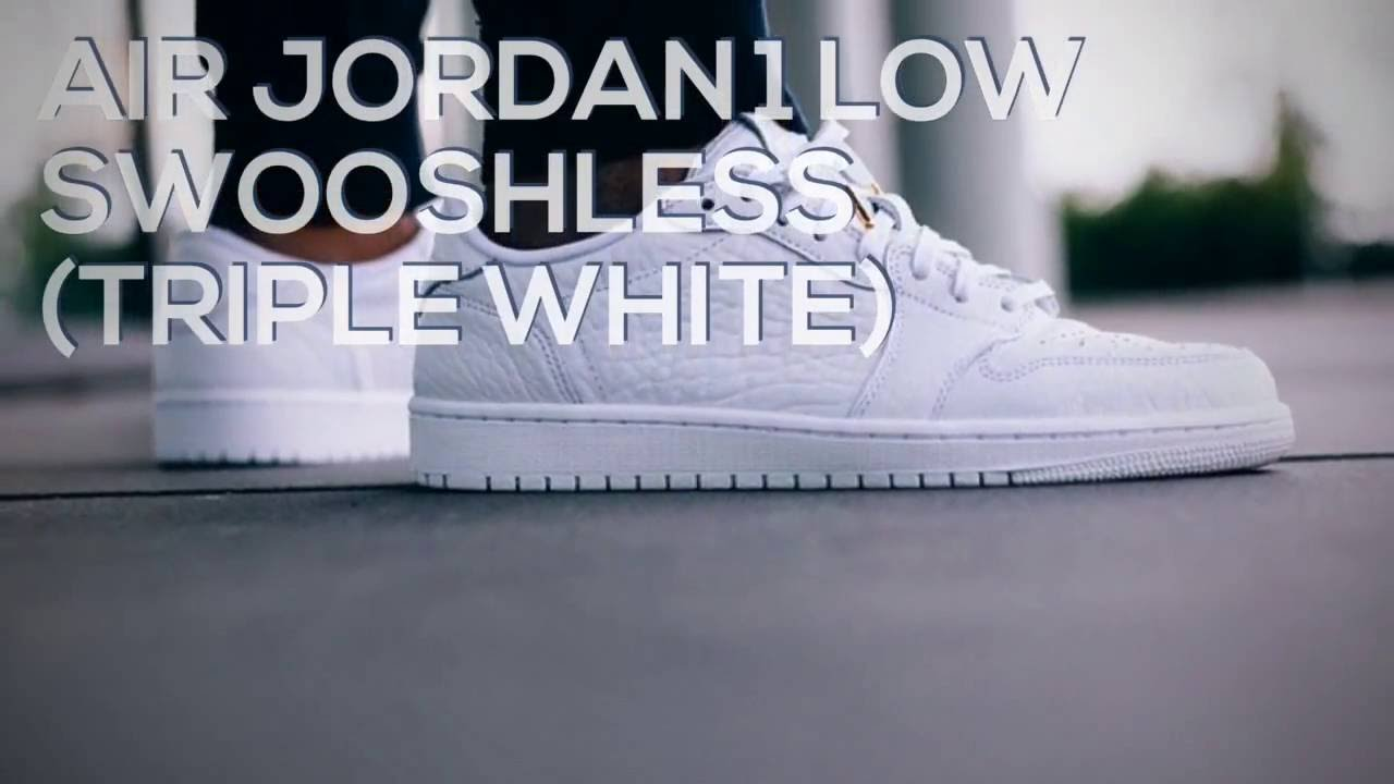 competitive price c9216 d5625 AIR JORDAN 1 LOW SWOOSHLESS (TRIPLE WHITE)   PEACE X9
