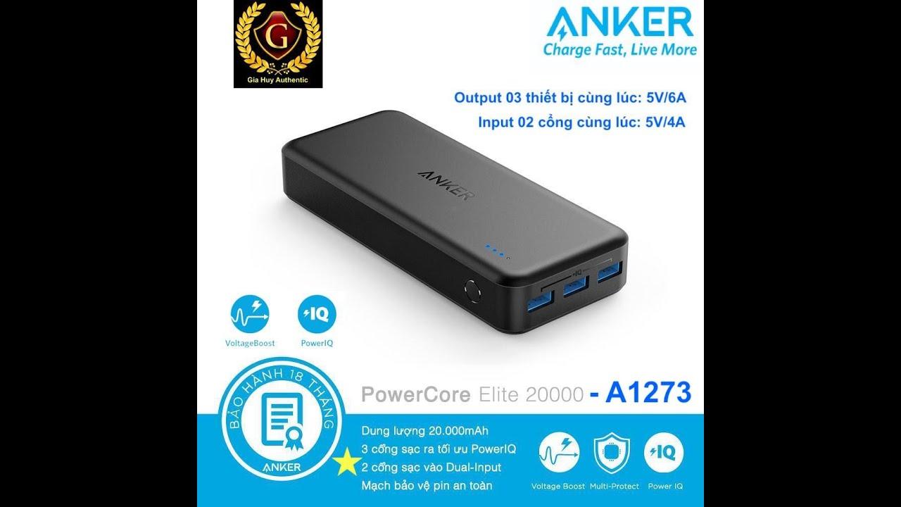 Pin sạc dự phòng Anker Powercore Elite 20000mAh – 03 cổng sạc PIQ – A1273