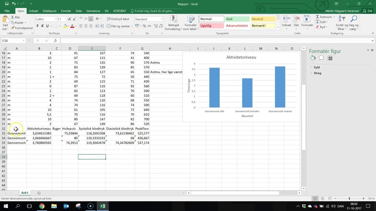 Excel lav grafer i Excel og tilføj tekst på akserne 2017