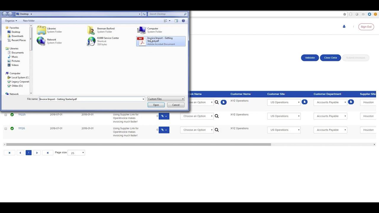 OpenInvoice Supplier Link File Import Demo YouTube - Open invoice oildex