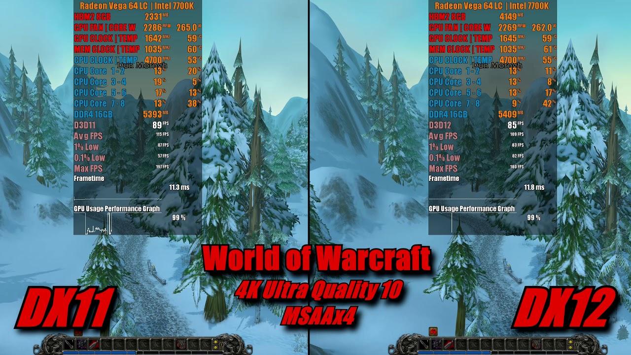 World of Warcraft DX11 vs DX12   4k Ultra Quality 10, 4xMSAA   Vega 64 LC  7700k