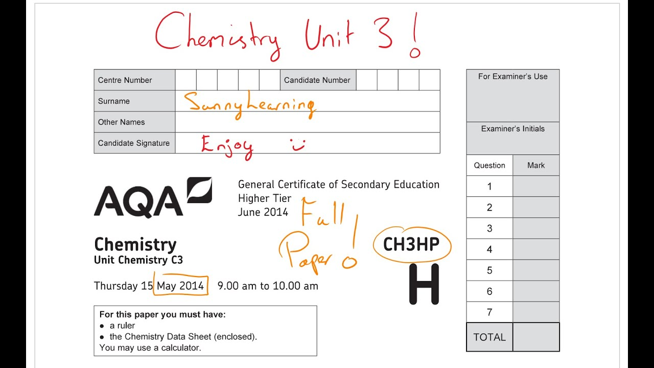 gcse aqa chemistry unit 3 may 2014 ch3hp full paper - Periodic Table Aqa Data Sheet A Level