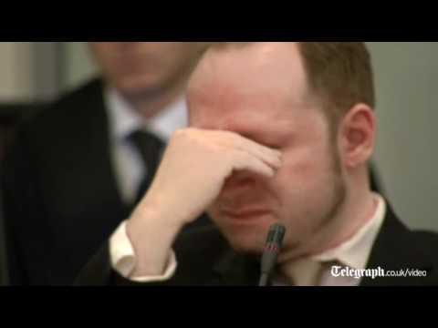 Anders Behring Breivik cries in court