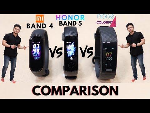 Mi Band 4 V/s Honor Band 5 V/s Noise ColorFit 2   Smart Band Comparison   Tech Unboxing 🔥
