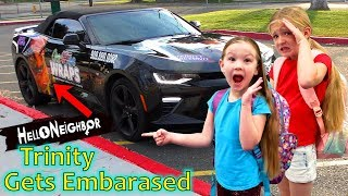 Picking Up the Girls at School in Hello Neighbor Car! Trinity Gets Embarassed!!!