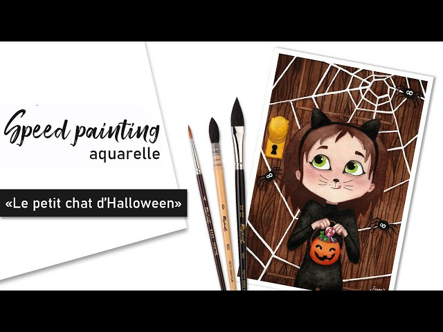 TIMELAPSE - Illustration aquarelle « Le petit chat d'Halloween »