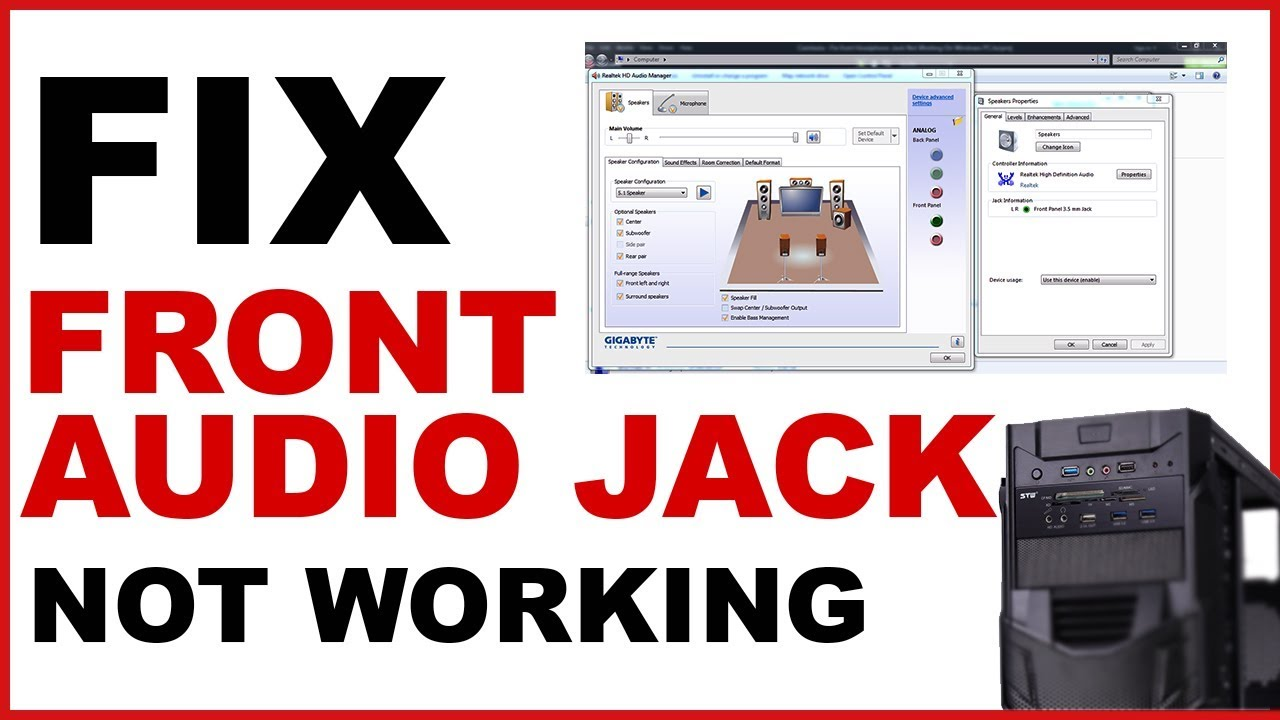Fix Front Audio Jack not working On Windows PC   Front headphone jack not working - YouTube