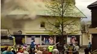 Moelv 24. mai 2010, brann i sentrumslokale.