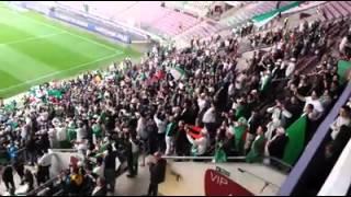 النشيد الوطني الجزائري في مبارات ( الجزائر - رومانيا) الودية في سويسرا .