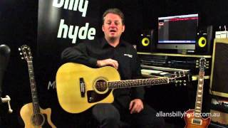 Epiphone® AJ-220SCE Solid Top Cutaway Acoustic/Electric Guitar (Natural) Overview
