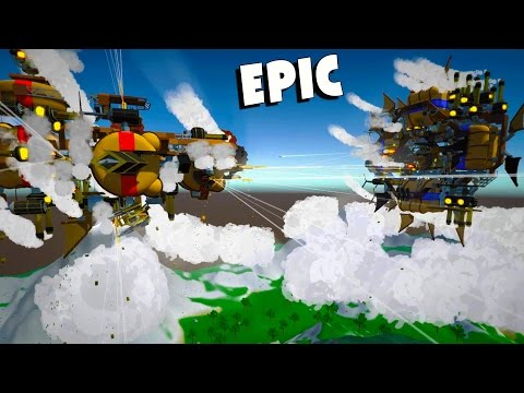 Giant Airship Battles!  Steampunk Battleships in the Sky (Airmen Gameplay)