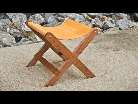 Modern Walnut and Leather Stool   How To Build - Woodworking