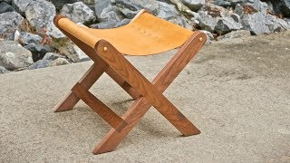 Build Article w/ Measurements : https://craftedworkshop.com/blog/modern-walnut-and-leather-stool-how-to-build-woodworking In