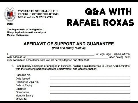 Dubai Visit Visa - Original Affidavit of Support  Guarantee - YouTube - affidavit of support