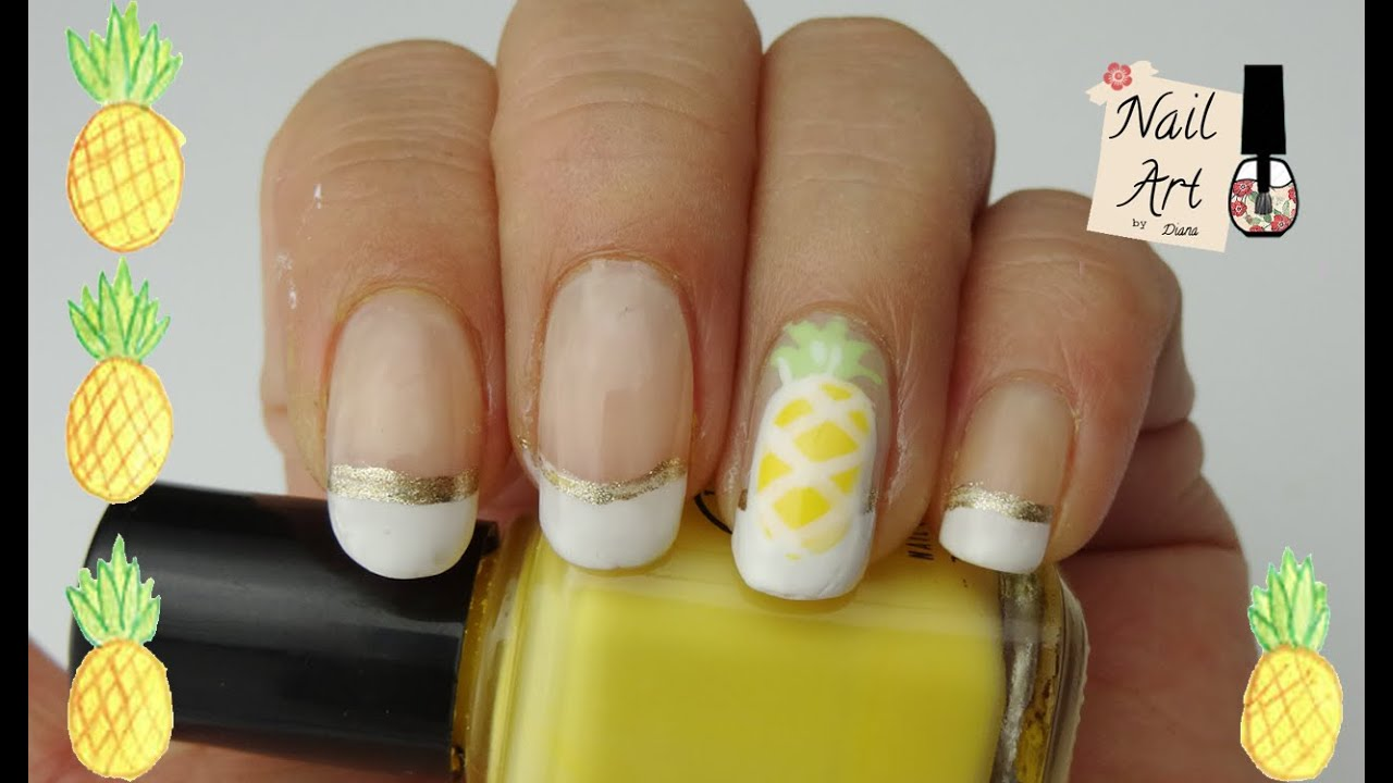 Pineapple Nail Art for Summer | Tutorial de uñas con piña para el ...