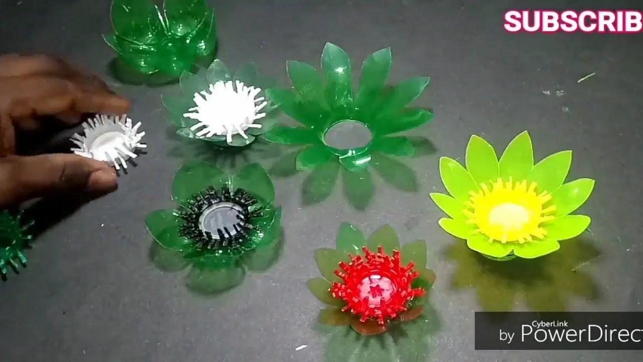 Diy Beautiful Flowerempty Plastic Bottle Vase Making Crafte Very