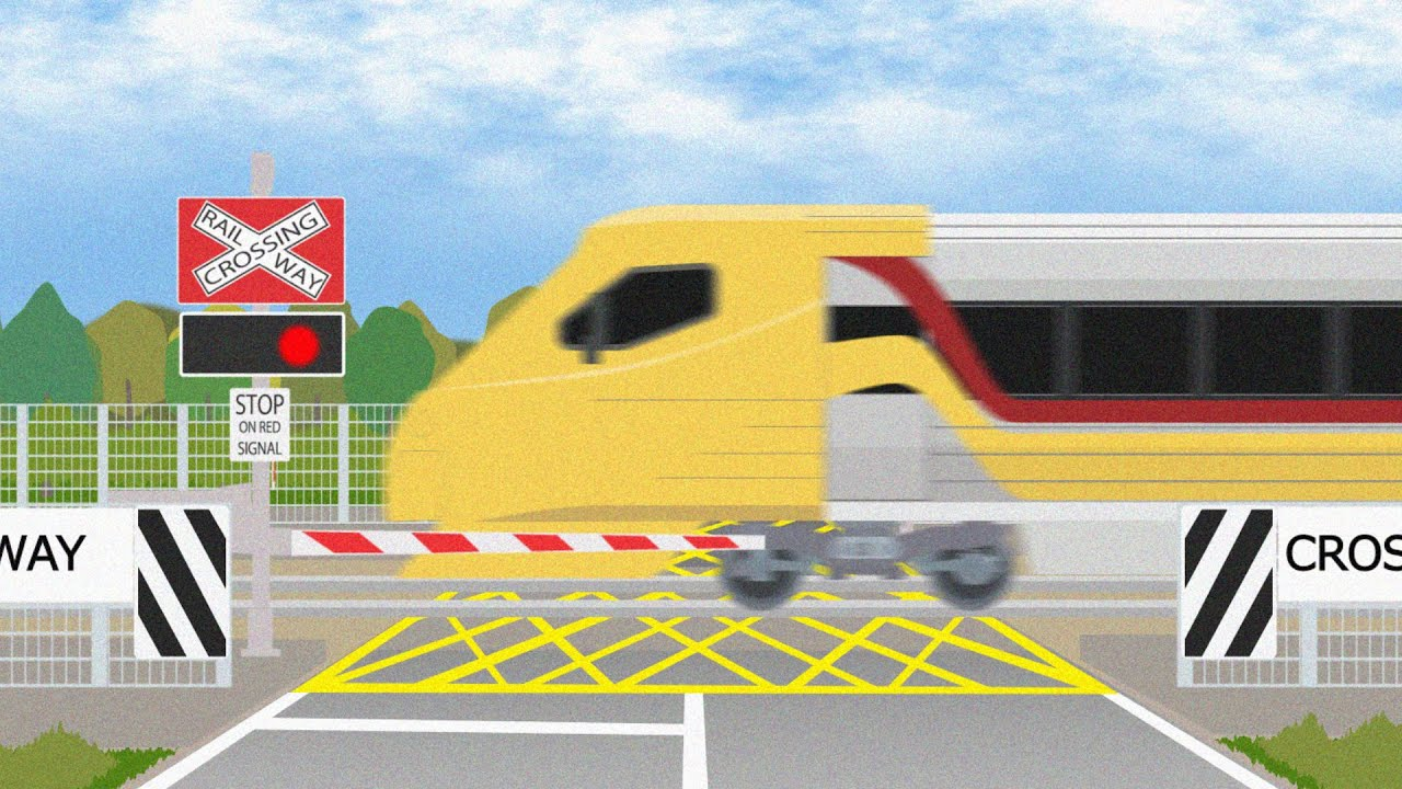Australian Railway Crossing and Trains【オーストラリアの踏切 電車アニメ】