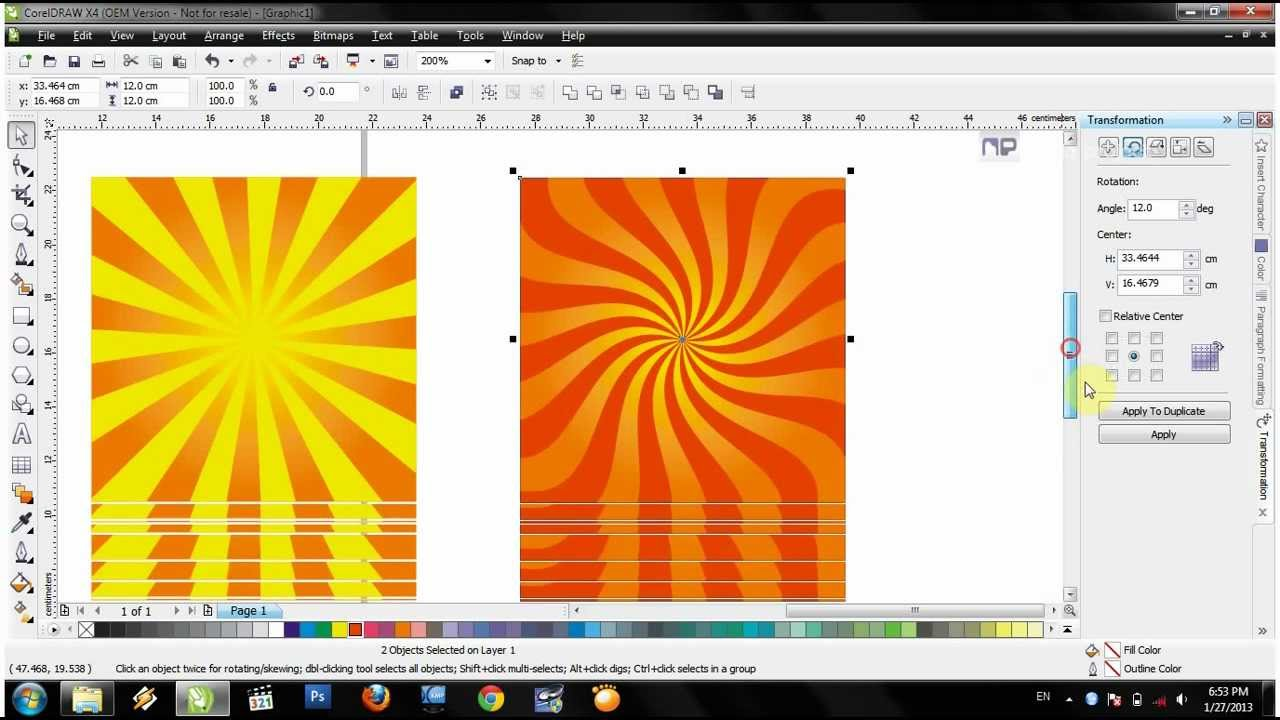 video tutorial corel X4 membuat background art matahari