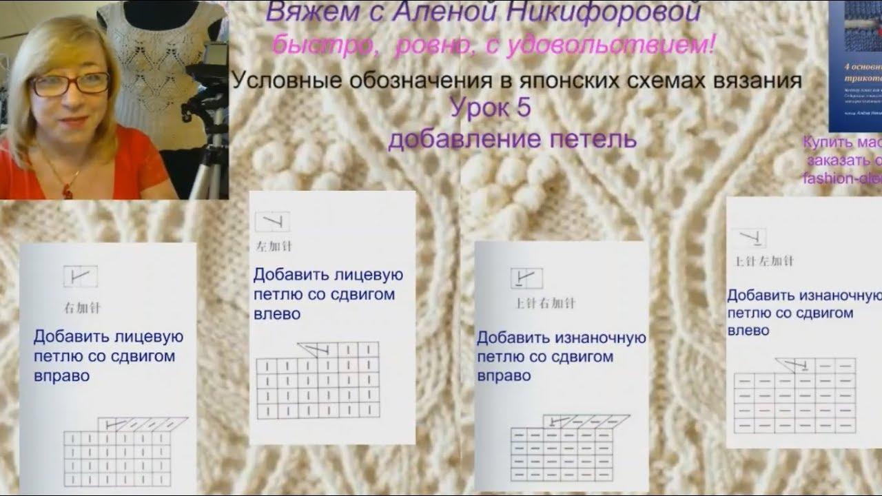 обозначения в японских схемах узоров спицами урок 5 добавление