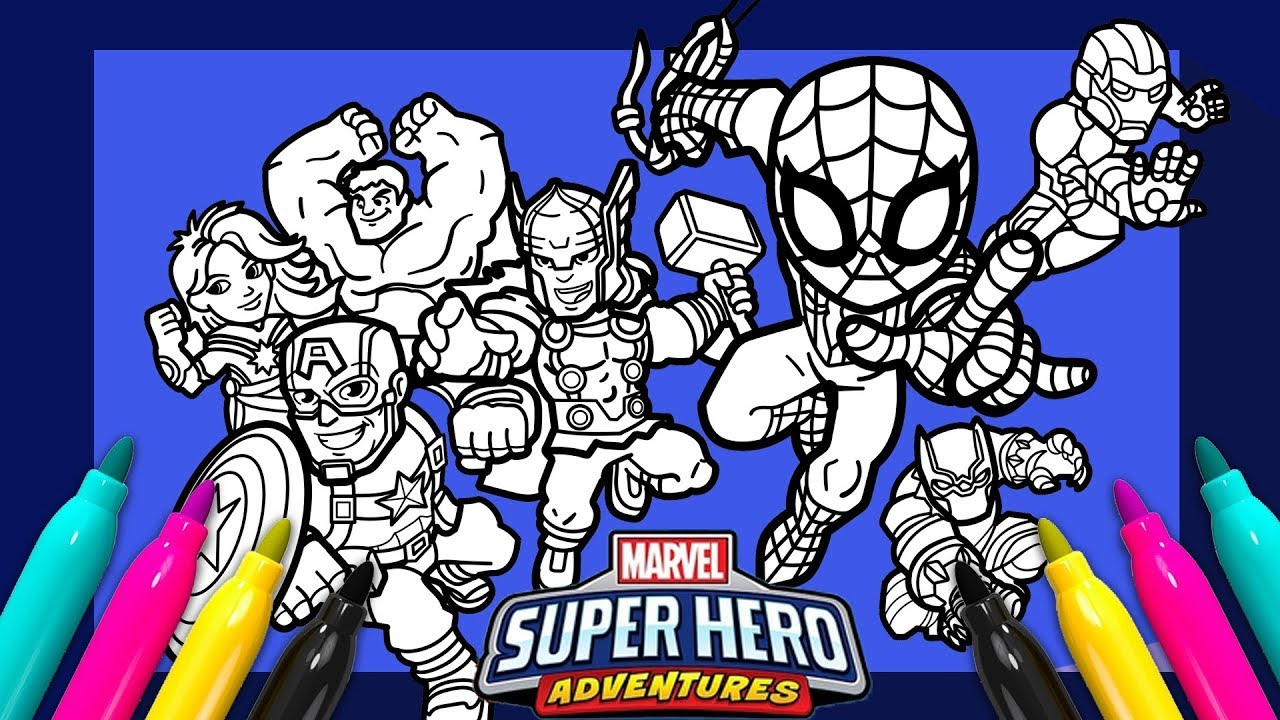 - Marvel Avengers Coloring Page SUPER HERO ADVENTURES - YouTube