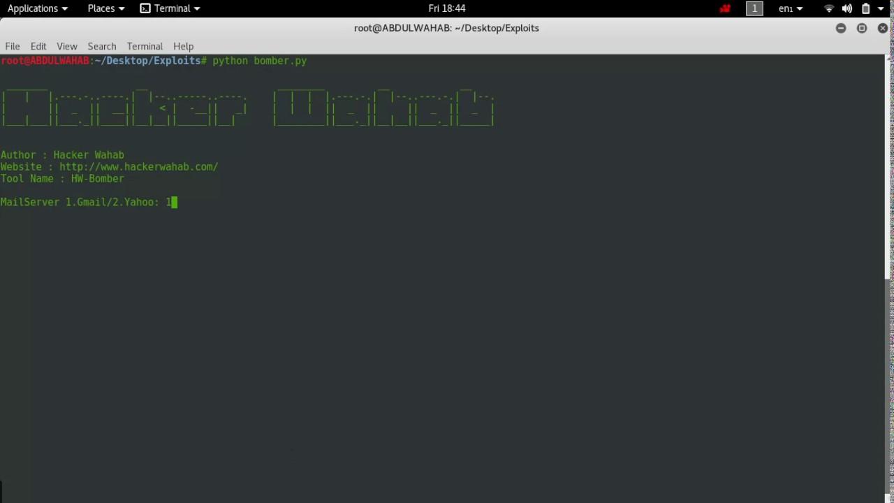 ABDULWAHAB: HW-Bomber Python based Email Bombing tool