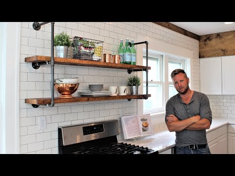 The Farmhouse Pipe Shelves - Easy DIY Project (includes hanging)