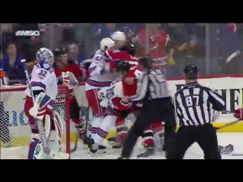 Holden drives Wood into stanchion, line brawl ensues
