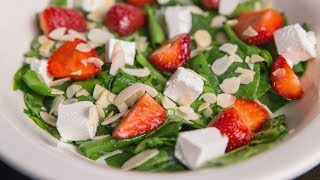 ASMR Cooking Sounds | Spinach and Strawberry Salad