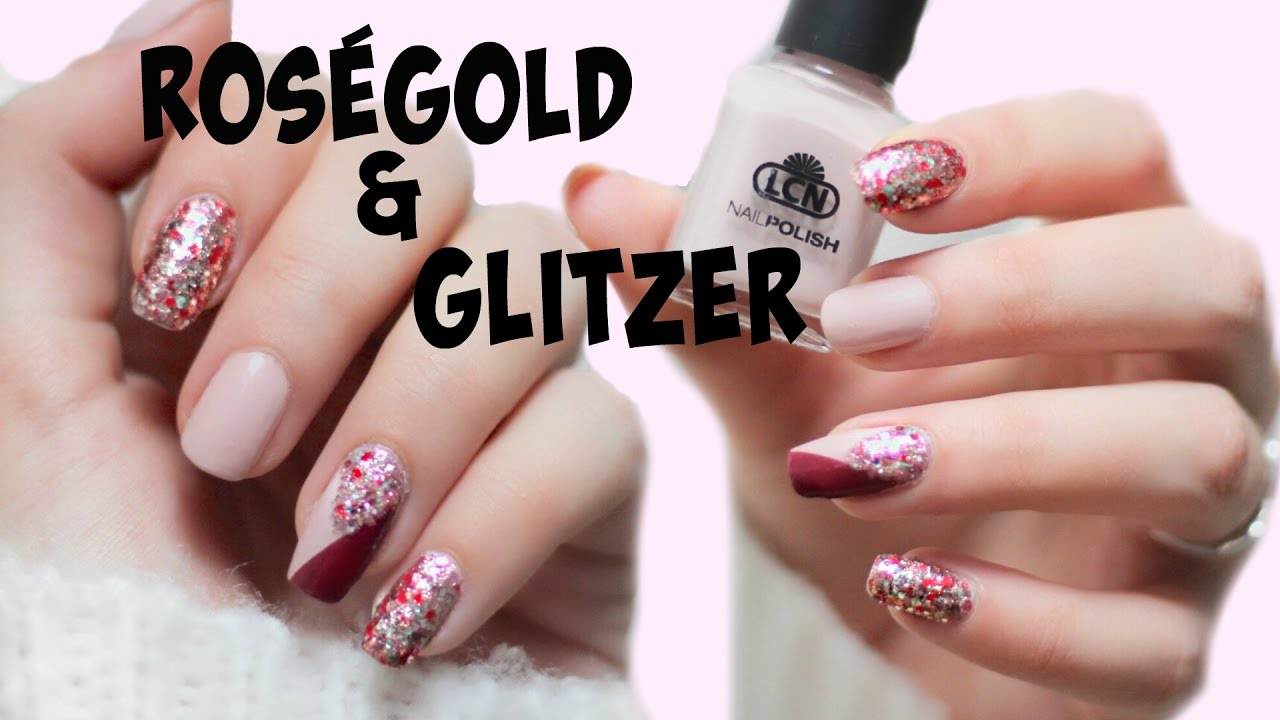 ros gold glitzer nageldesign i lcn nagellack i tutorial i herbst 2016 i ellylicious youtube. Black Bedroom Furniture Sets. Home Design Ideas