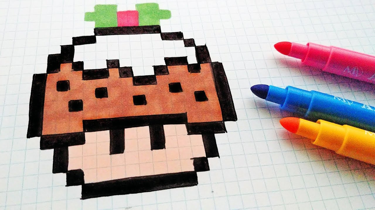 Handmade Pixel Art How To Draw A Mushroom Christmas Cake Pixelart