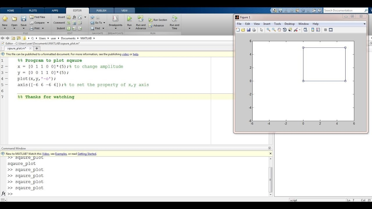 How to plot square in Matlab