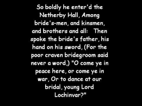 Lochinvar By sir Walter Scott