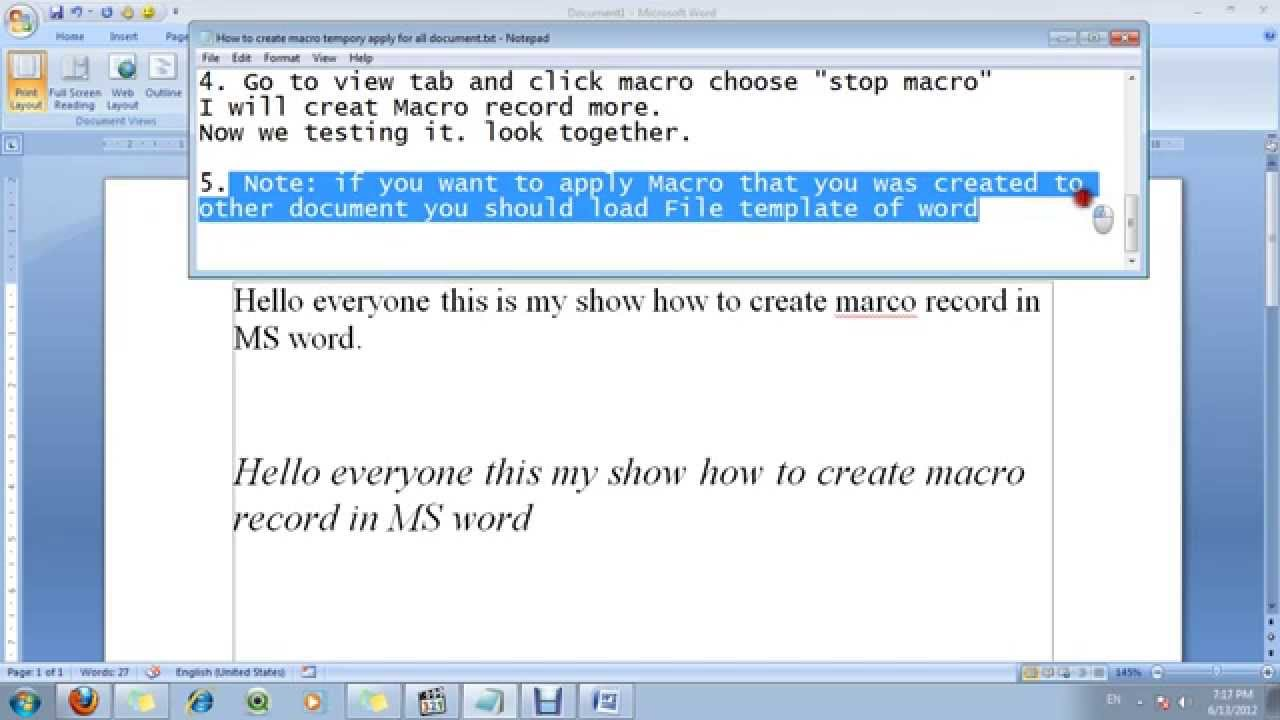 How to create macro record in MS word 2007 - YouTube