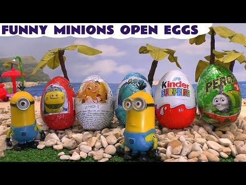 Funny Minions Play Doh Thomas the Train Peppa Pig Kinder Surprise Egg Unboxing Disney Jake Eggs