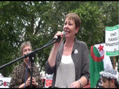 Caroline Lucas MP Rage Against Israel Demo, London 05-06-10