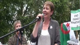 Caroline Lucas MP Rage Against Israel Demo, London 05-06-10