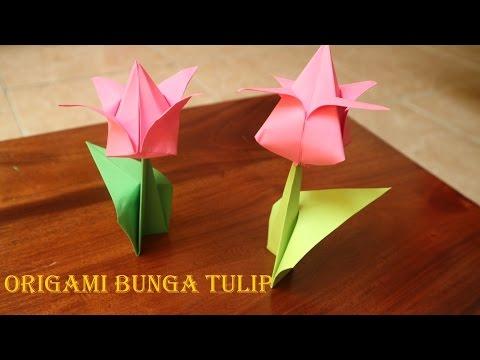 Cara Membuat Origami Bunga Tulip 3 Dimensi Sederhana Youtube