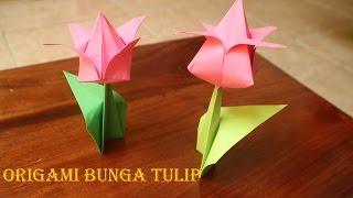 Cara membuat origami bunga tulip 3 dimensi sederhana