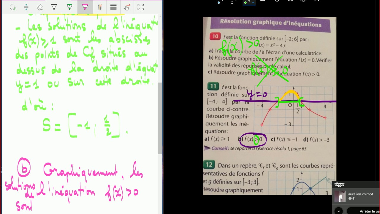 Résolution graphique d'inéquations - Seconde - exercices ...