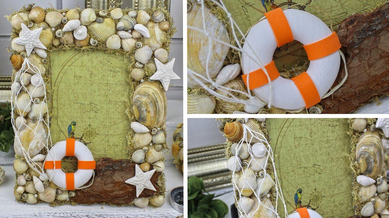 🐬 DIY Декоративная РАМКА для фото ИЗ РАКУШЕК своими руками / Красота в морском стиле | Eva-Konfetti