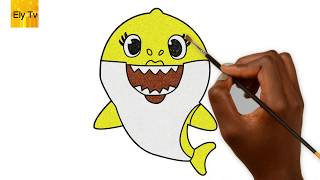 Baby Shark song | Coloring baby shark | Learn how to color for kids